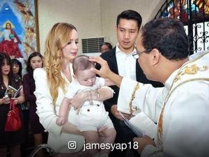 LOOK: James Yap and Michela Cazzola's son gets baptized