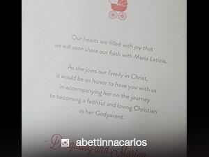 LOOK: Baby Zia's baptismal invitation