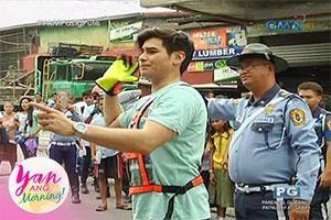 Yan Ang Morning!: Fabio Ide and Chariz Solomon as traffic enforcers