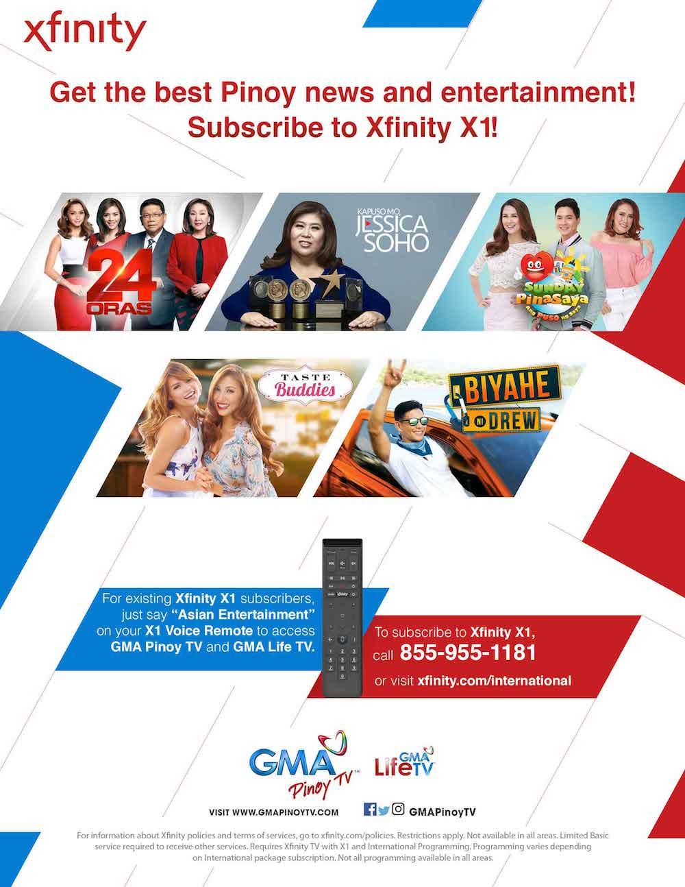 GMA Pinoy TV, GMA Life TV now on Xfinity X1   News and