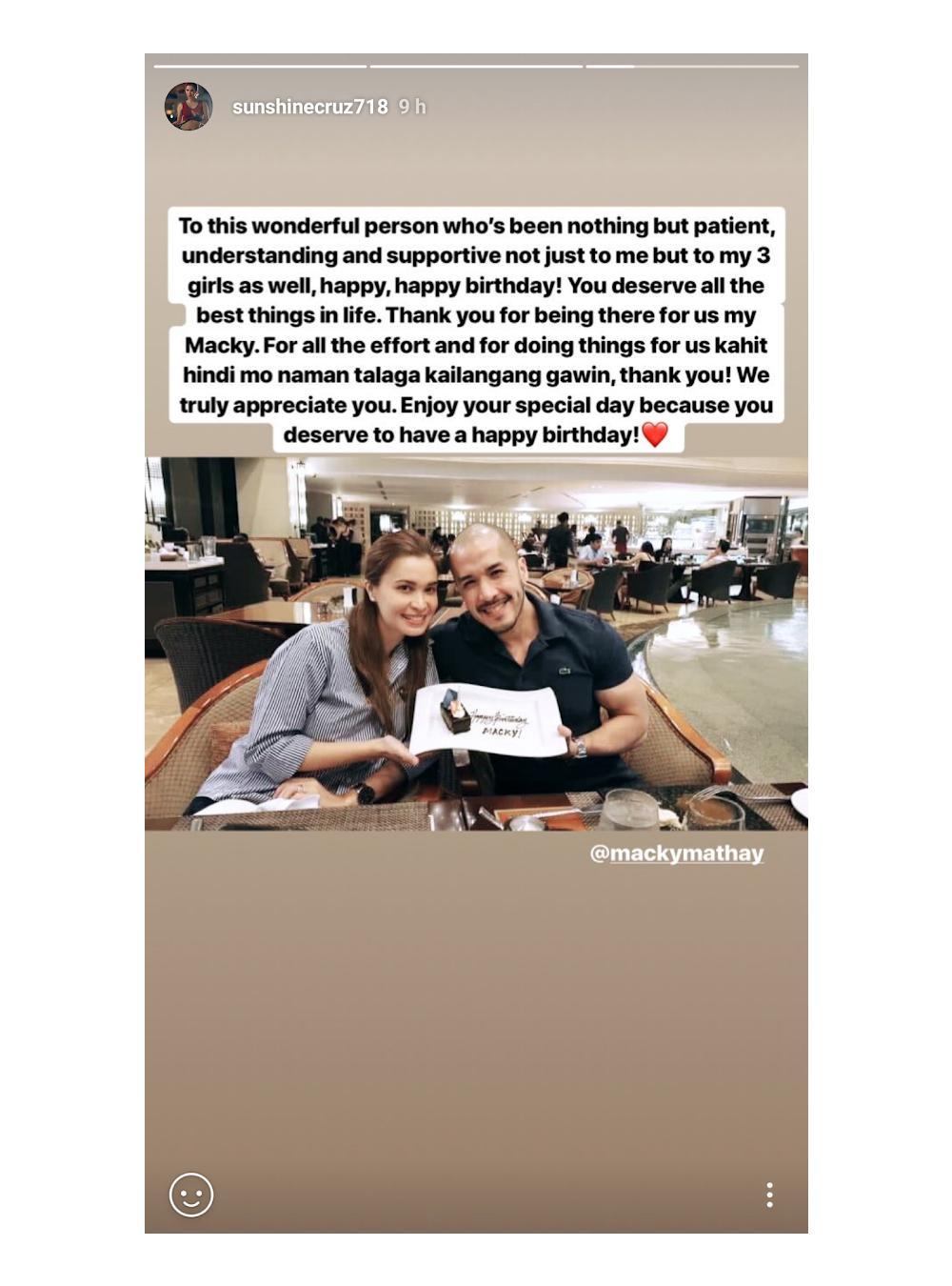 Sunshine Cruz Thanks Macky Mathay On Her Birthday Message For Him