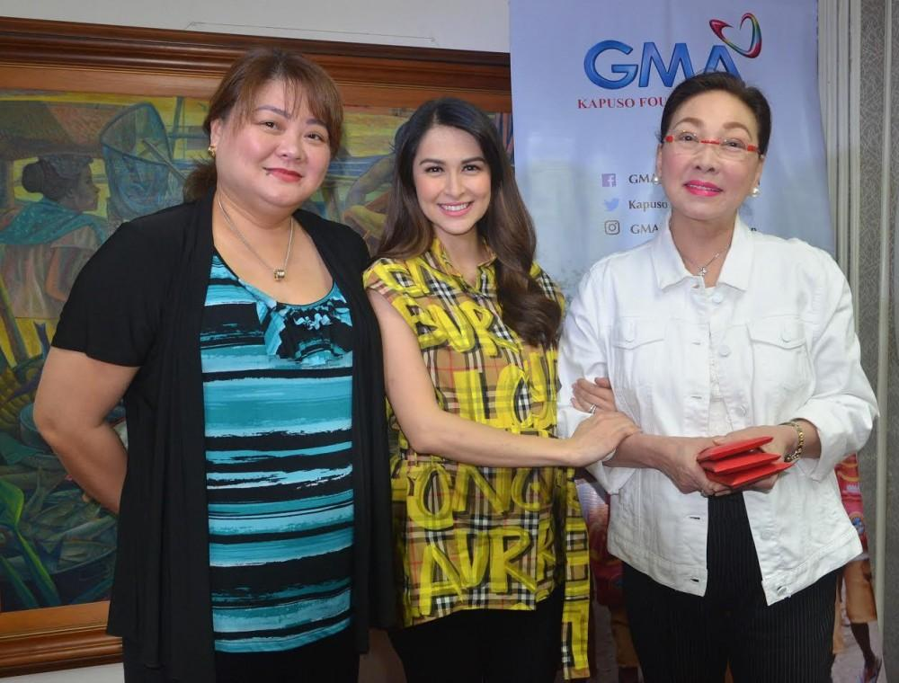 (From left) GMAKF EVP and COO Rikki Escudero-Catibog, Marian Rivera, and GMAKF Founder and Ambassador Mel C. Tiangco
