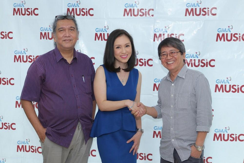 (L-R) GMA Music A&R Manager Kedy Sanchez, Princess Velasco, and GMA Music Managing Director Rene Salta