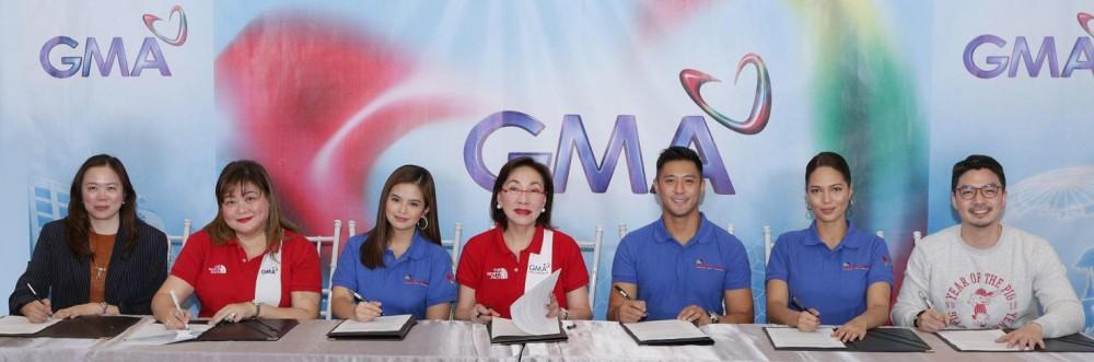 (L-R): GMA Senior Assistant Vice President for Alternative Productions Gigi Santiago-Lara, GMAKF Executive Vice President and COO Rikki Escudero-Catibog, Bea Binene, GMAKF Founder and Ambassador Mel Tiangco, Rocco Nacino, Patricia Tumulak, and GMA Artist Center Assistant Vice President and Head for Talent Imaging and Marketing Unit Simoun Ferrer.