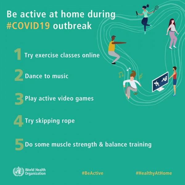 WHO Reminds People To Stay Active At Home During